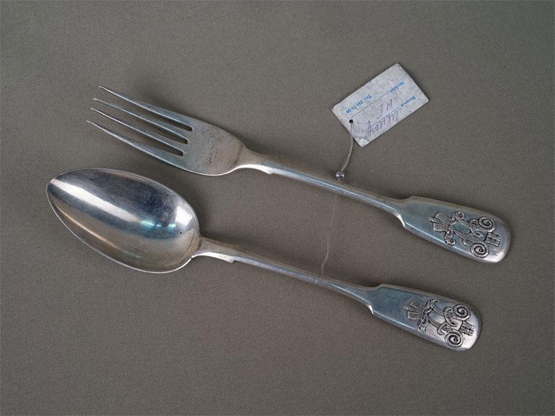 Ложка ивилка столовые, серебро 84пробы, общий вес— 134,5г.