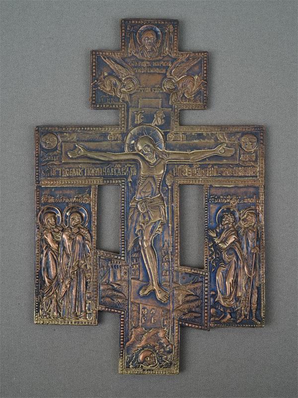 Антиквариат. Икона  Крест Распятие медное литье