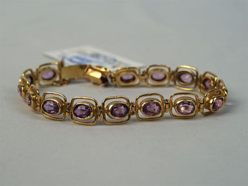 Браслет, золото 585пробы, выращенные розовые сапфиры, общий вес— 19,9г.