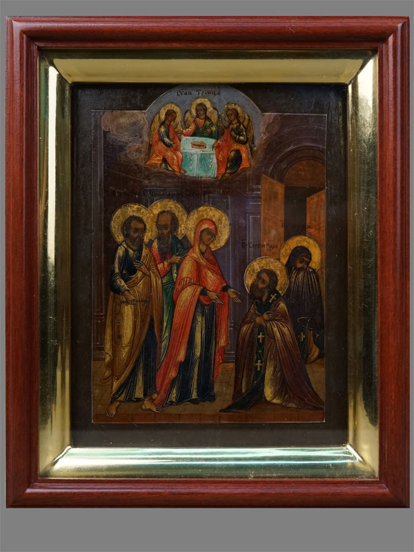 Антиквариат. Икона «Явление Пресвятой Богородицы. Святой Преподобный Сергий Радонежский»