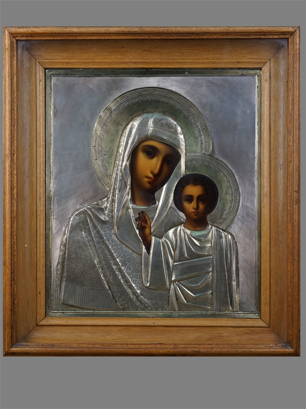 Антиквариат. Икона «Пресвятая Богородица Казанская» серебро 84 пробы