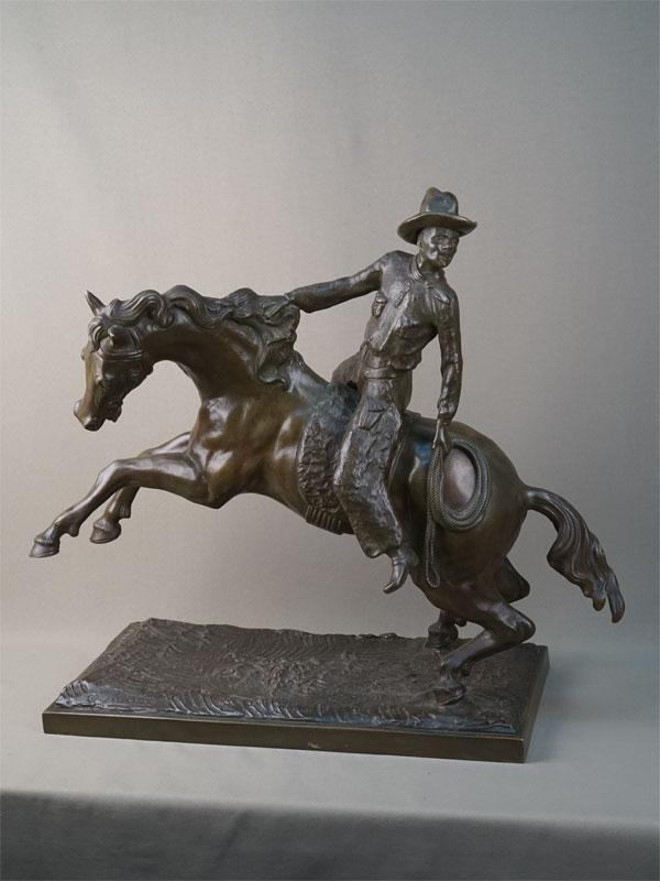 Антиквариат. «Ковбой лошадь», бронза всадник конь