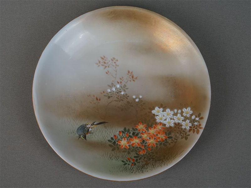 Тарелка «Лето», фарфор, роспись, золочение. Япония, Кутани, начало XXвека, диаметр— 18см