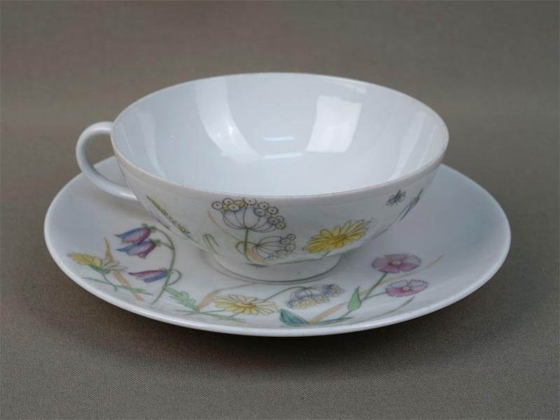 Чайная пара «Полевые цветы», фарфор, деколь. Германия, Kaestner Saxonia, середина XXвека