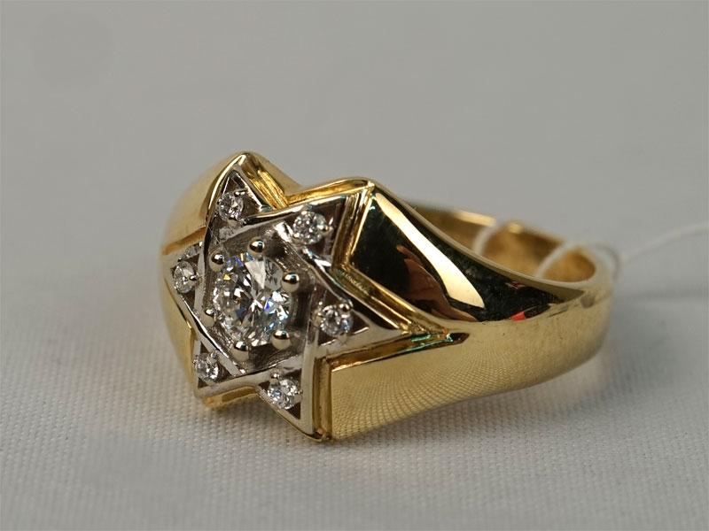 Антиквариат. Кольцо «Звезда», золото 585 пробы, бриллиант