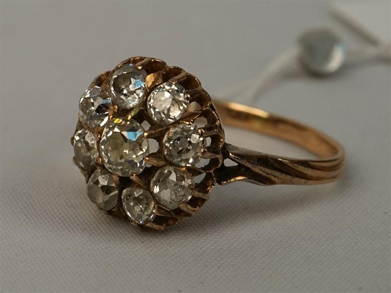 Антиквариат. Кольцо, золото 56 пробы бриллиант
