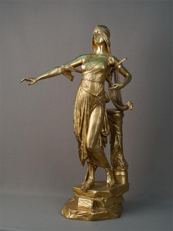 Антиквариат. «Лирика», бронзовая скульптура обнаженная девушка восток модерн