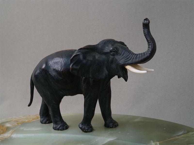 Визитница «Слон», оникс, венская бронза, длина— 32см