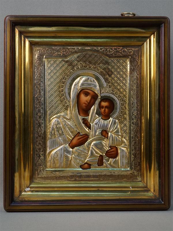 Икона «Пресвятая Богородица Тихвинская», дерево, левкас, темпера, оклад серебро 84пробы, конец XIXвека, 21×17,5см