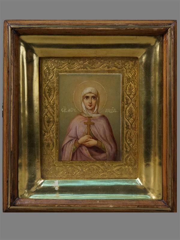 Икона «Святая Мученица Лидия», дерево, масло, XIXвек, 13,5×11см; киот