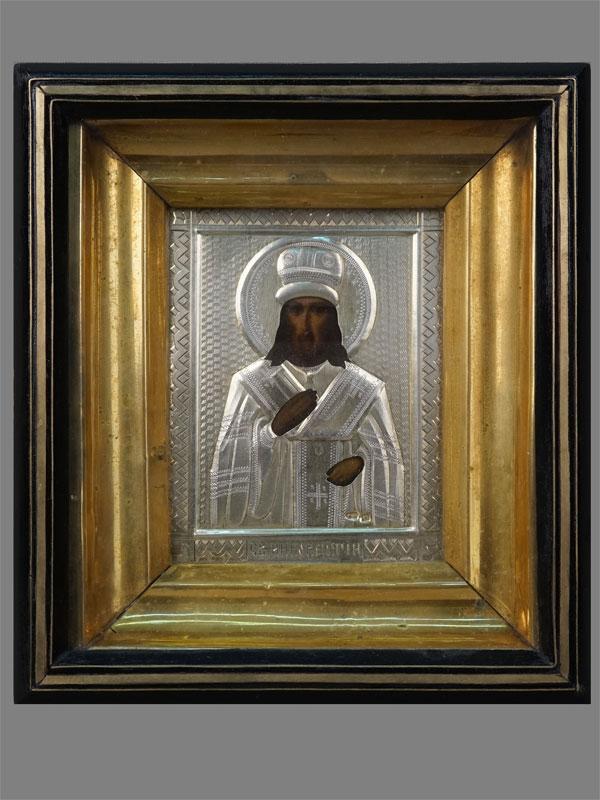 Икона «Святой Иннокентий Иркутский», дерево, левкас, темпера, оклад серебро 84пробы, XIXвек, 10,5×8,5см; киот