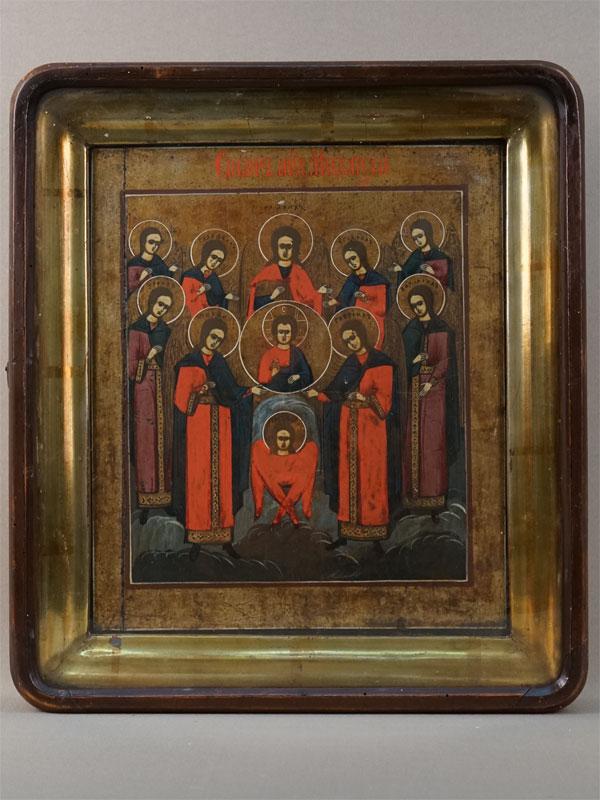 Икона «Собор Святого Архистратига Михаила», дерево, левкас, темпера, XIXвек, 29×25см; киот