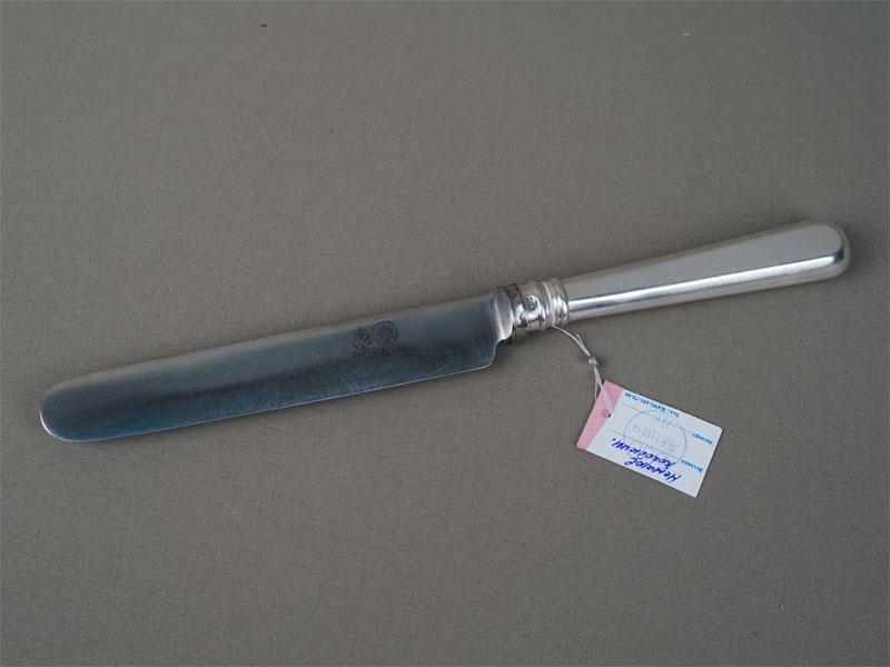 Нож столовый, серебро 84пробы, сталь, общий вес— 126,57г., клеймо «Немиров-Колодкин»