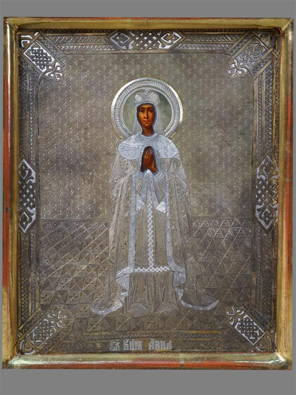Икона «Святая княгиня Анна (Новгородская)», дерево, левкас, темпера, оклад серебро 84пробы, 1875г., 18×14см; киот.