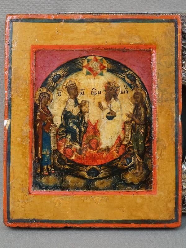Икона «Новозаветная Троица», дерево, левкас, темпера, сусальное золото, середина XVIIIвека; оклад серебро 84пробы, золочение, 1767год; 14×12см.