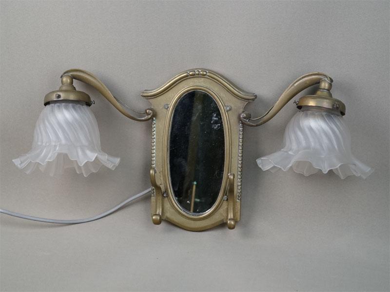 Антиквариат. Бра зеркало, два рожка, латунь, стекло