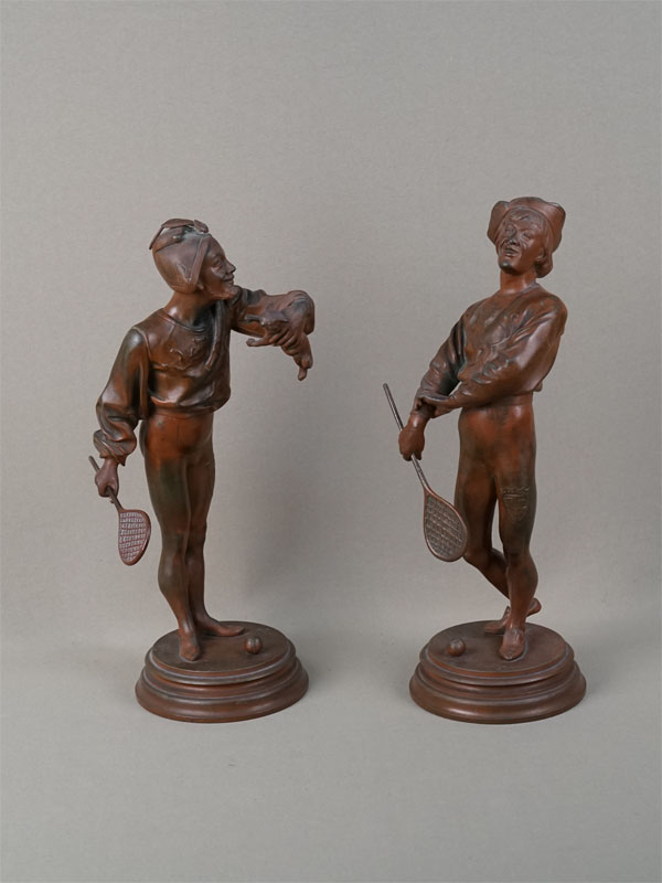 Пара скульптур «Теннисисты», бронза, литье, патинирование. Франция, автор Barye, конец XIXвека, высота— 30см