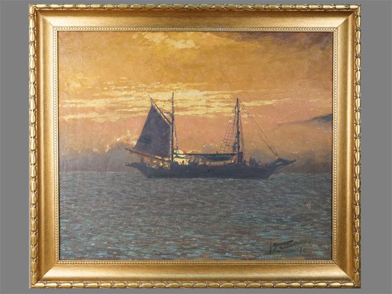 Неизвестный художник, «Морской пейзаж спарусником», холст, масло, 50×60см