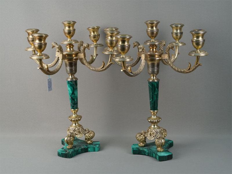 Пара канделябров, серебро 800пробы, малахит, высота— 39,5см
