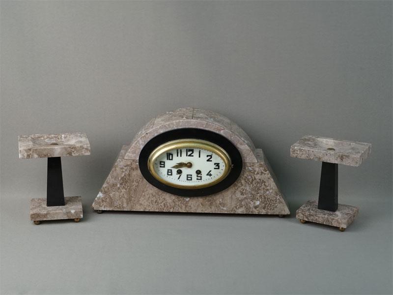 Антиквариат. Каминная тройка ар-деко часы подсвечник, мрамор