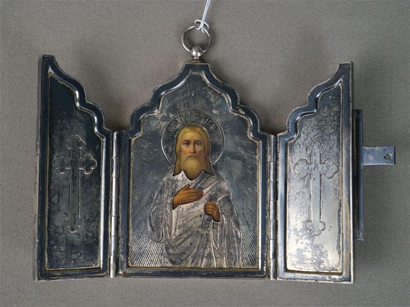 Складень «Святой Пророк Илия», серебро 84пробы, общий вес— 223г., 9,8×13,2см  1893год.