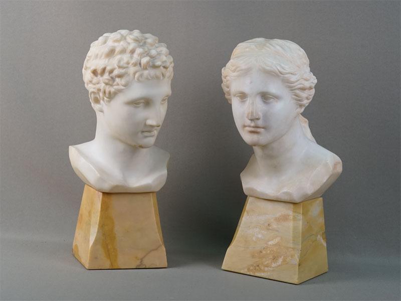 Пара бюстов «Аполлон» и«Афродита», мрамор, конец XIX — начало XXвека, высота— 32см