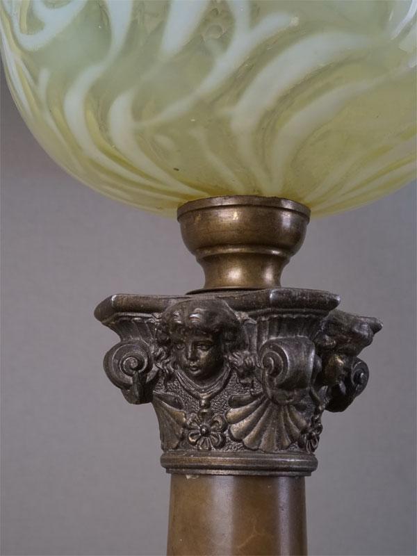 Лампа настольная, камень, металл, стекло, начало XXвека, высота— 73см