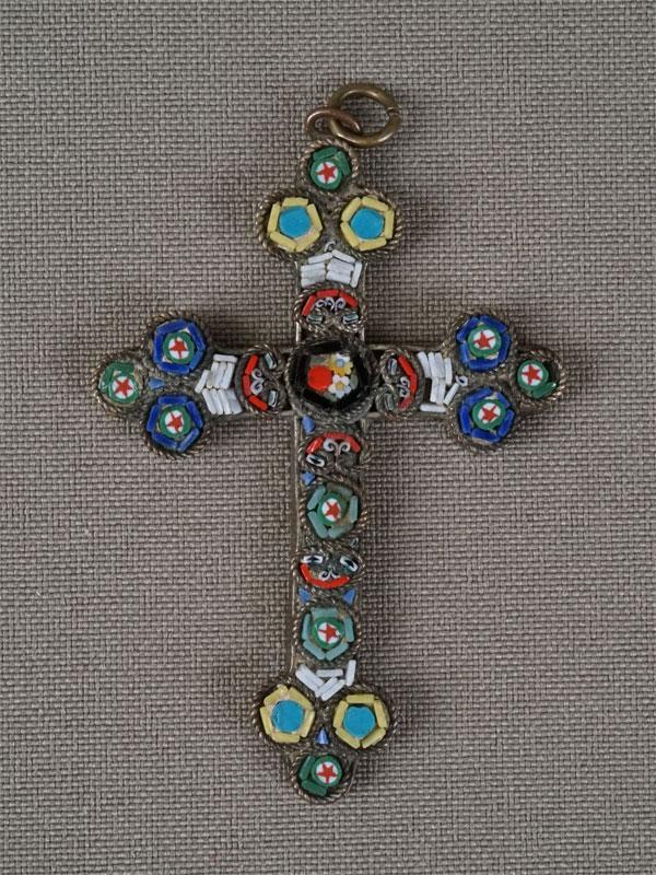 Подвеска «Крест», латунь, мозаика изсмальты, 5×3,5см