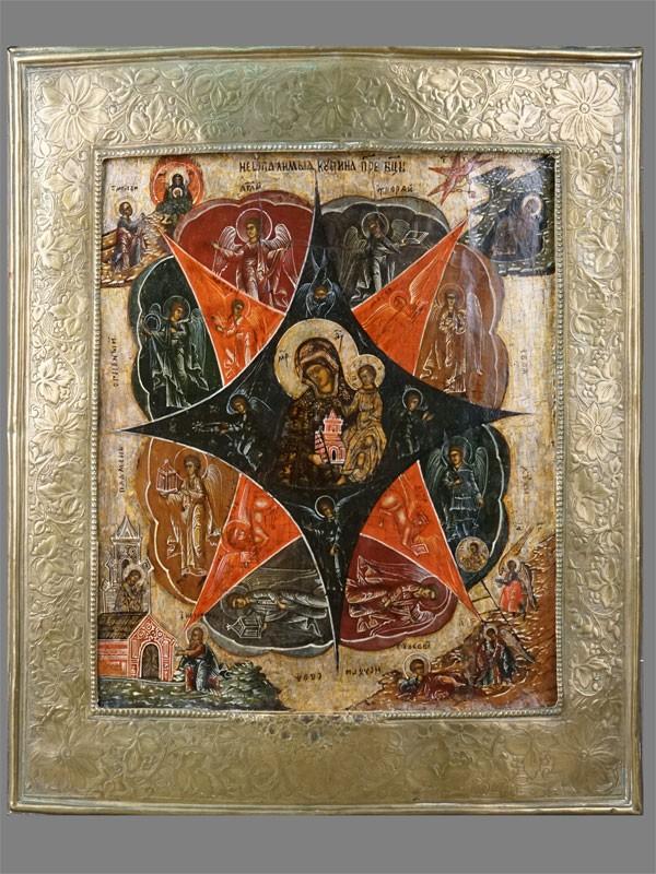Икона «Пресвятая Богородица Неопалимая Купина», дерево, левкас, темпера; басма латунь; 32×27см
