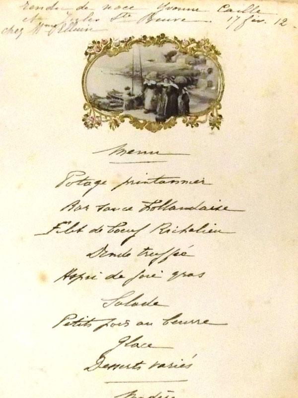 Меню сприглашением насвадьбу Ивонны Кайлле иЖюля Сен-Бёва для Мадам Элизы. 17февраля 1912г. Хромолитография. Франция.