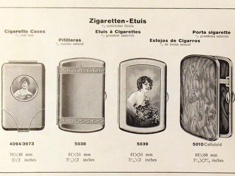 Рекламный буклет немецкой фирмы попроизводству портсигаров «Zigaretten-Etuis». 1930-е годы. 16стр.