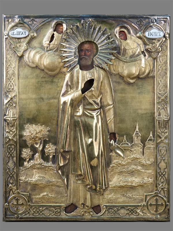Икона «Святой Апостол Петр», дерево, масло, 30×24,5см. Оклад серебро 84пробы, золочение, финифть. Москва, 1860год.
