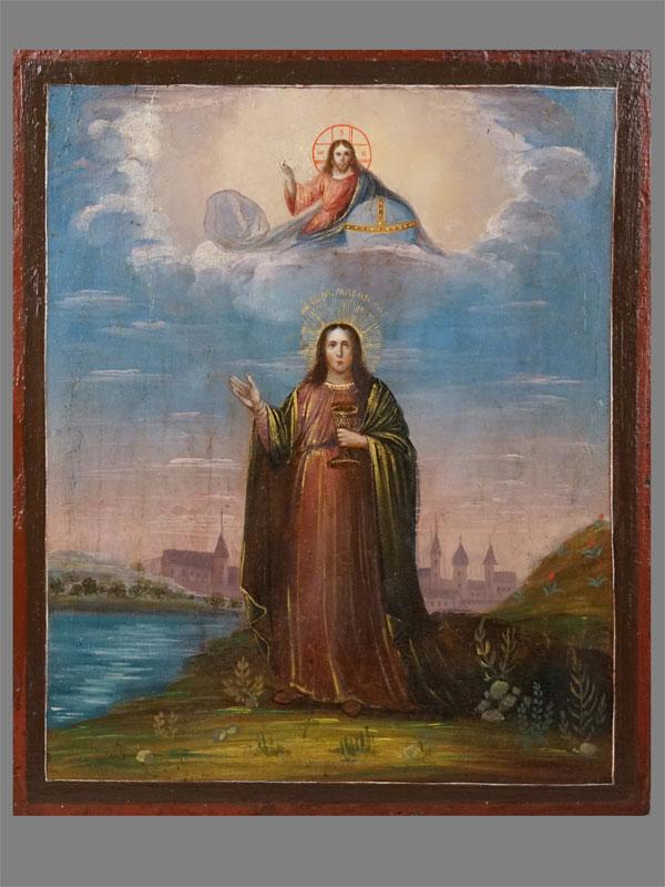 Икона «Святая Мария Магдалина», дерево, масло, XIX век, 31 × 26см