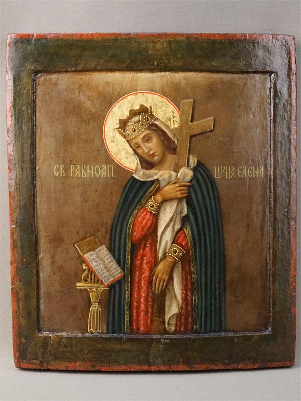 Икона «Святая Царица Елена», дерево, левкас, темпера, XVIIIвек, 31×26,5см; киот