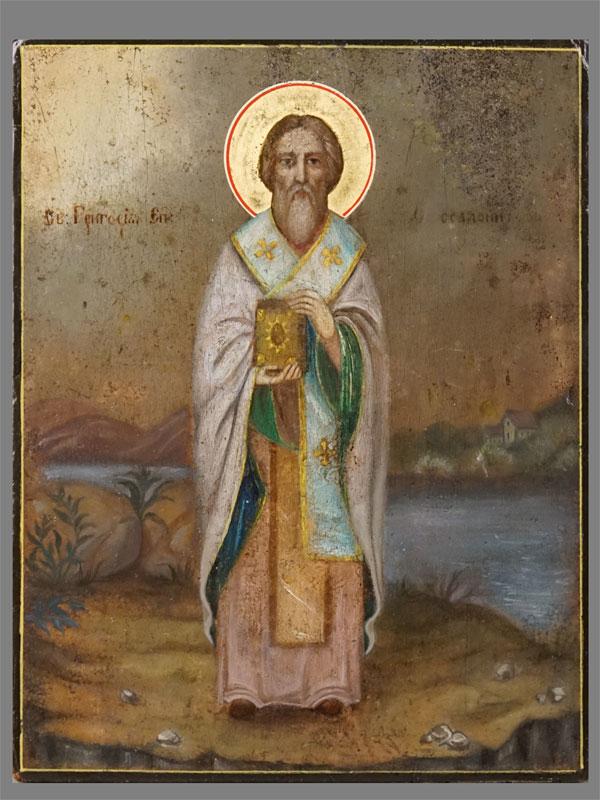 Икона «Святой Григорий Палама, Епископ Фессалоникский», дерево, смешанная техника, сусальное золото, 21×16,5см, XIXвек