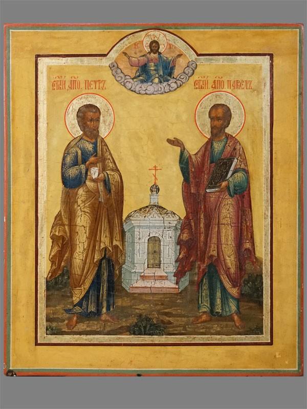 Икона «Святые Апостолы Петр иПавел», дерево, левкас, темпера, сусальное  итвореное золото, XIXвек, 31×26,5см
