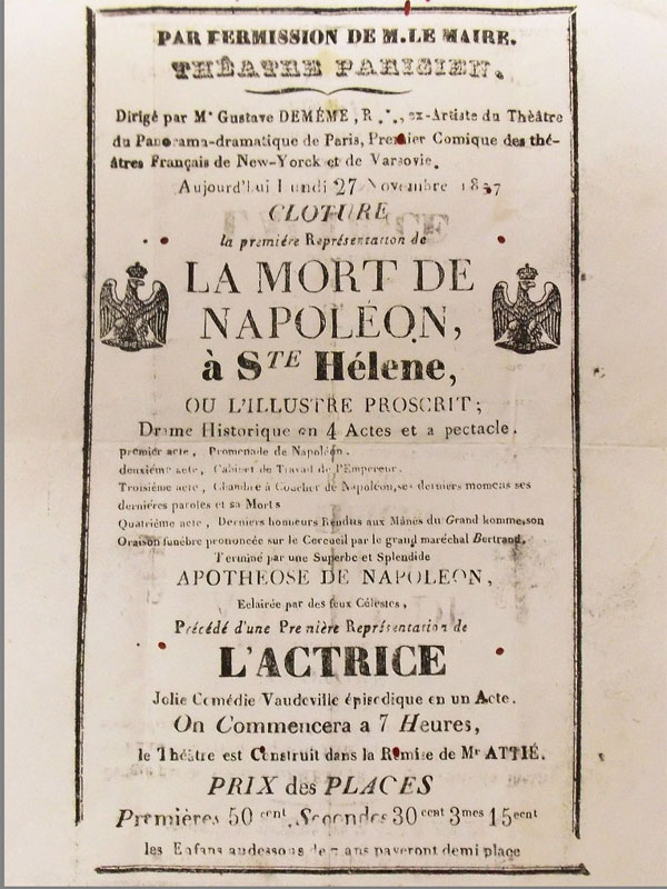 Антиквариат. Афиша Парижский Театр. Смерть Наполеона. Наполеон. война 1812