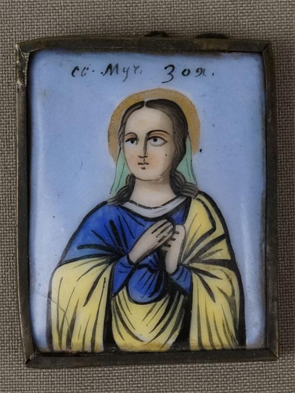 Икона «Святая Мученица Зоя», металл, финифть, XIXвек, 5×4см (утраты)
