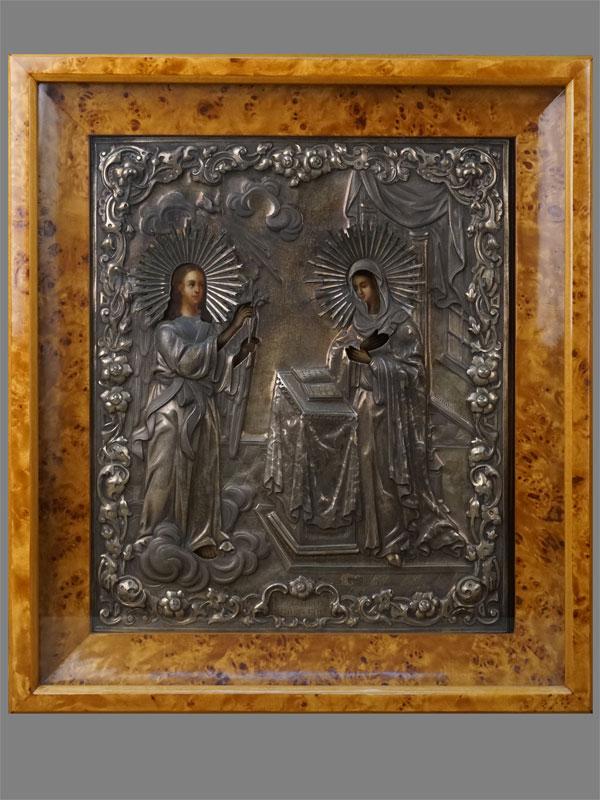 Икона «Благовещение Пресвятой Богородицы», дерево, масло, оклад серебро 84пробы, 1861год, 36×30,5см; киот