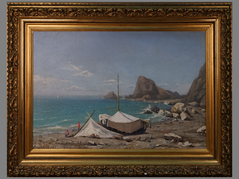 Майков А.А., «Крымские рыбаки», холст, масло, 1902год, 50×84см. Атрибуция.