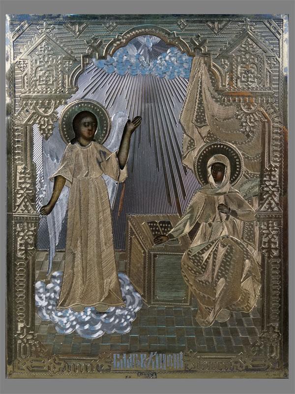Икона «Благовещение», дерево, темпера, оклад серебро 84пробы. Москва, 1883год, 17×14см; киот