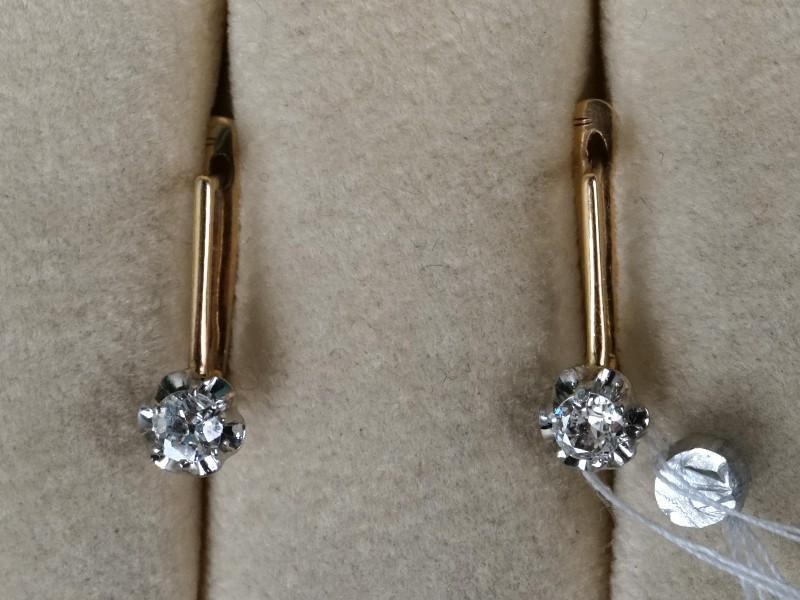 Серьги, золото 583пробы, общий вес— 1,83г. Вставки: бриллианты (2бр «Старой» огр. — 0,21ct 4/6)