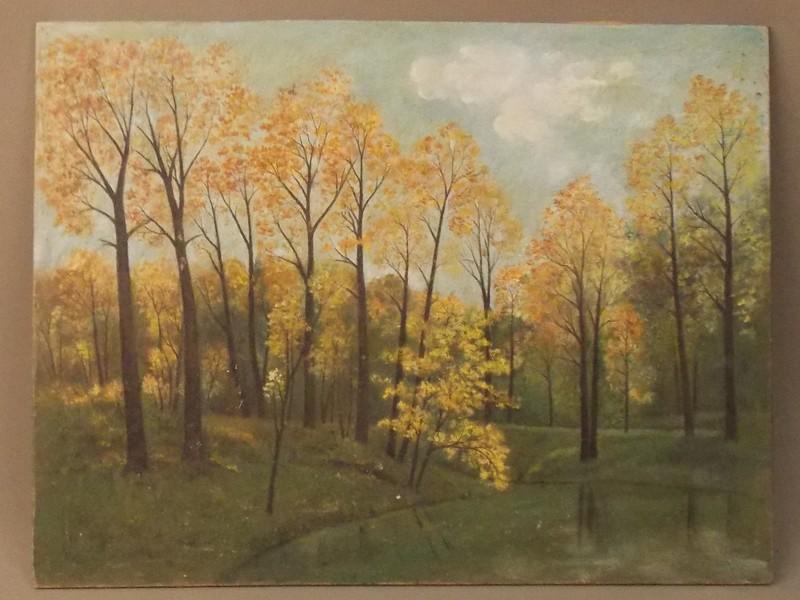 Антиквариат. пейзаж «На берегу пруда», оргалит, масло, 29 × 37 см.