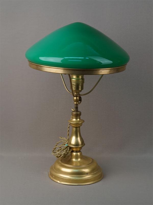 Антиквариат. старинная Лампа настольная зеленый абажур