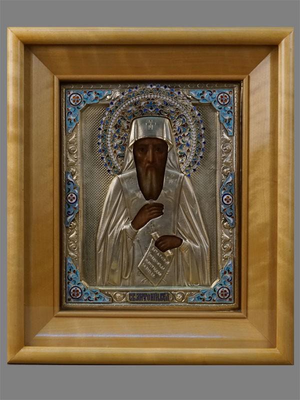 Икона «Святой Антоний Великий», дерево, масло, оклад серебро 84пробы, золочение, эмаль, XIXвек, 22×17,5см; киот