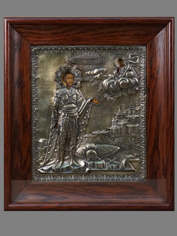 Икона «Святой Александр Невский», дерево, масло. Оклад встиле ампир: серебро 84пробы, гравировка, канфарение, кабошоны, Москва, 1827год. Размер иконы: 31× 26,5см; киот