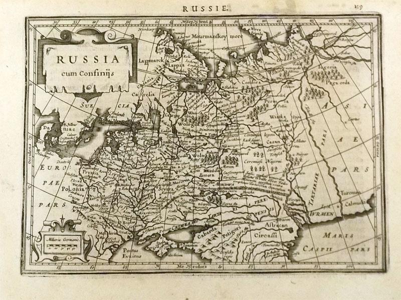 Карта России. 1633 . /  Russia cum Confinijs. — MERCATOR, G. et HONDIUS, J. — Amsterdam, 1634. Гравюра намеди, 14,0×20,0см.