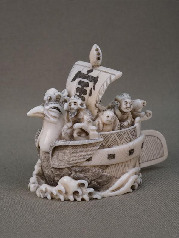 Антиквариат. Окимоно Такарабунэ. корабль сокровищ. семь богов счастья