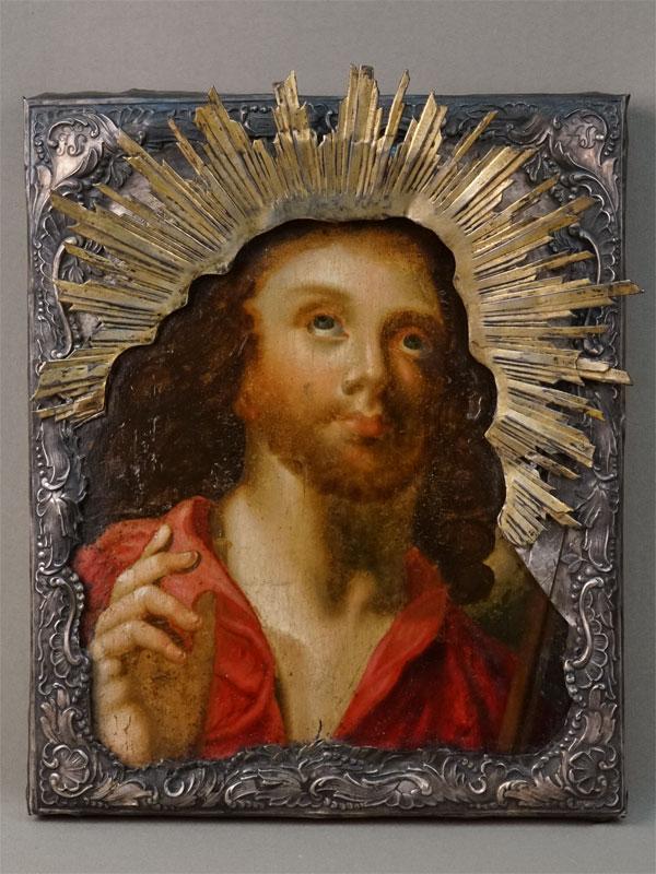 Икона «Спаситель благословляющий», дерево, масло, оклад серебро пореактиву, позолота, надпись наокладе 1846года, 32×26см