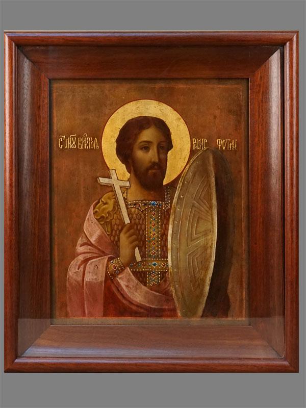 Икона «Святой Мученик Виктор (Фотин) Римский», дерево, масло, золочение, 36×29,5см, XIXвек. Киот.